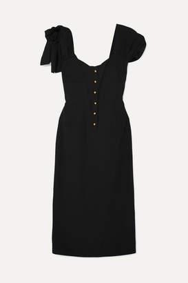 Prada Bow-embellished Crepe Midi Dress - Black