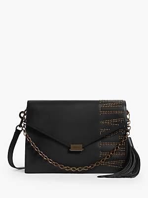 AllSaints Nina Stud Leather Shoulder Bag, Black