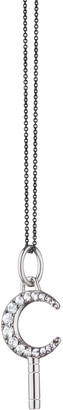 Monica Rich Kosann Sterling Silver Mini Dream Moon Key Necklace w/ White Sapphires