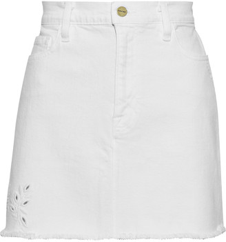 Frame Le Mini Frayed Broderie Anglaise Denim Skirt