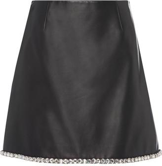 Miu Miu Crystal-Embellished Lambskin Skirt
