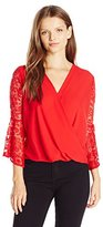 Amy Byer A. Byer Women's Long Lace Bell Sleeve Top with Wrap Front
