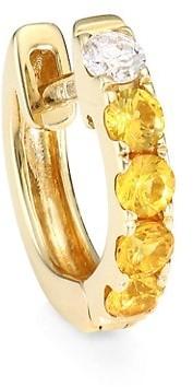 Robinson Pelham Orb 14K Yellow Gold, Yellow Sapphire & Diamond Single Medium Huggie Earring