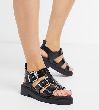 ASOS DESIGN Wide Fit Fallon chunky buckle flat sandal in black