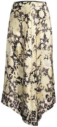 Rebecca Taylor Floral Handkerchief-Hem Silk Skirt
