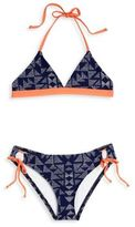 Splendid Girl's Two-Piece Deckhouse Geo Reversible Triangle & Tunnel Bikini