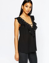 Lipsy Lace Up Frill Top With Eyelets