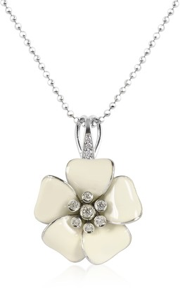 Rosato Sterling Silver and White Enamel Daisy Necklace