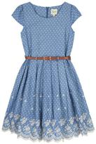 Yumi Chambray Polka Dot Print Dress Blue