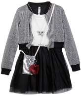 Beautees Belted Dress, Sparkle Bomber Jacket, Necklace & Accessory Bag (Big Girls)