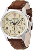 Wenger Terragraph Chrono Men's Quartz Watch with Dial Analogue Display and Brown Leather Strap 010543105