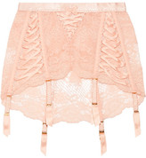 Agent Provocateur Peachy Satin-trimmed Stretch-leavers Lace Suspender Belt - 2