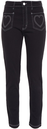 Love Moschino Embroidered Stretch-cotton Slim-leg Pants