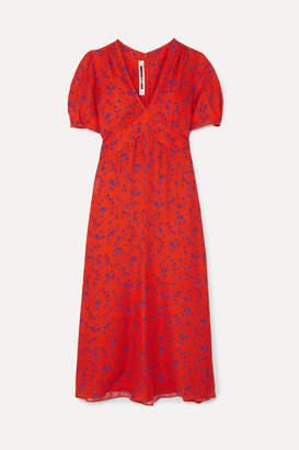 McQ Floral-print Silk-georgette Midi Dress - Orange