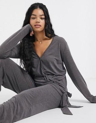 UNIQUE21 Unique 21 Loungewear Jersey Side Knot Top-Grey