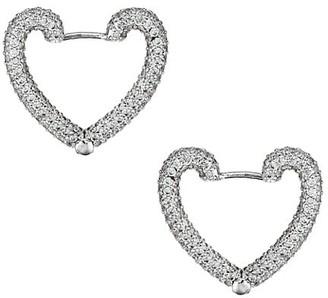 Fallon Armure Pave Heart Stud Earrings