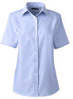 Lands' End Women's Plus Size Short Sleeve Oxford Shirt-White