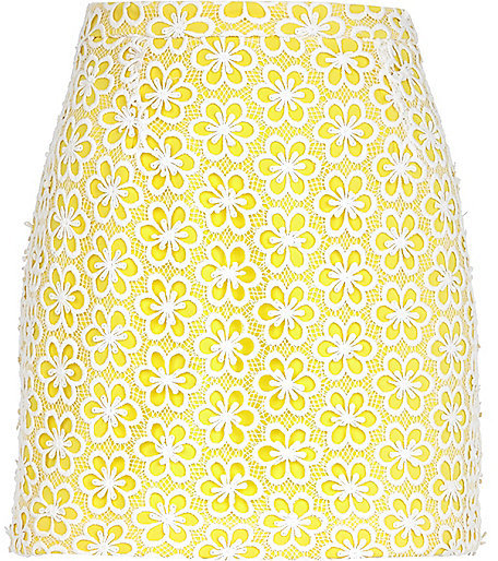 River Island Womens Yellow floral lace mini skirt
