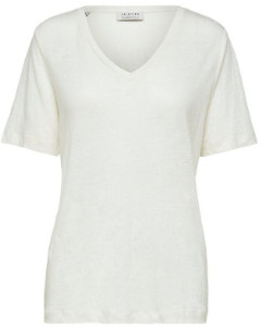 Selected White Linen V Neck Tee - s