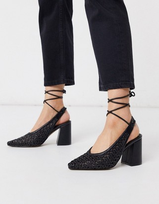 ASOS DESIGN Shay tie leg pointed heels in black weave
