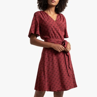 La Redoute Collections Cowboy Print Wrapover Dress with Short Sleeves