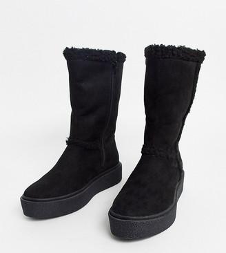 Asos Design DESIGN Wide Fit Aquarius faux fur flat boots in black