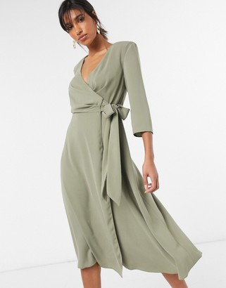 ASOS DESIGN wrap front midi dress with shoulder pad in soft khaki