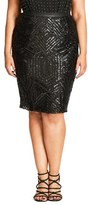 City Chic Plus Size Women's Geo Sequin Pencil Skirt