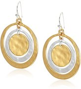 Robert Lee Morris Hammered Circle Orbital Two-Tone Drop Earrings