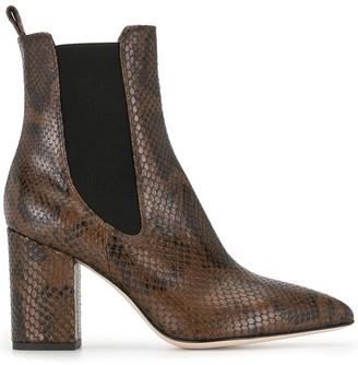 Paris Texas Leather Python Effect Ankle Boots