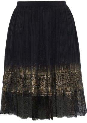 Alberta Ferretti Metallic Lace-trimmed Plisse-georgette Mini Skirt