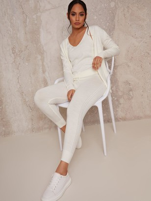 Chi Chi London 3 Piece Cardigan Lounge Wear Set - Cream