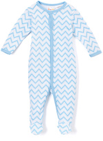 Sweet & Soft Blue Chevron Footie Romper