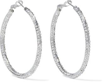 Kenneth Jay Lane Rhodium-plated Crystal Hoop Earrings
