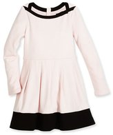 Kate Spade Selma Long-Sleeve Pleated Two-Tone Dress, Pink, Size 2-6