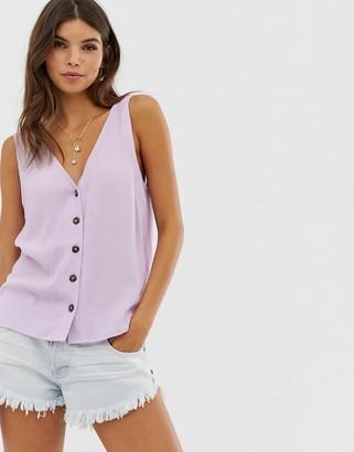 Asos Design DESIGN button through vest in crinkle-Purple