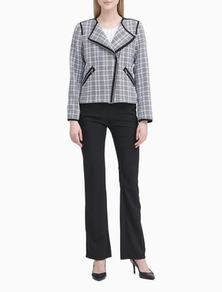 Calvin Klein Asymmetric Zip Plaid Jacket