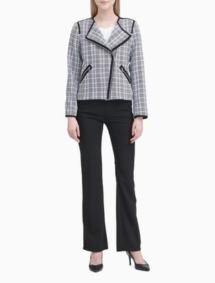Calvin Klein Asymmetric Zip Plaid Jacket