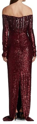 Pamella Roland Off-The-Shoulder Sequin Gown