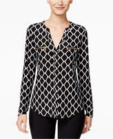 INC International Concepts Printed Zip-Pocket Blouse, Created for Macy's
