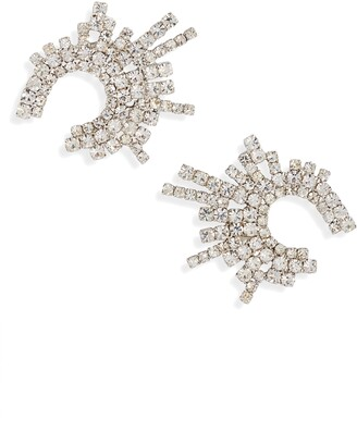 CRISTABELLE Crystal Crescent Stud Earrings