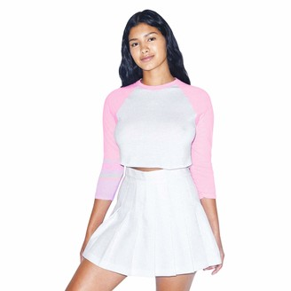 American Apparel Women's 50/50 Cropped 3/4 Sleeve Raglan