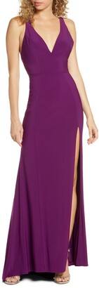 Mac Duggal Deep V-neck Slit Jersey Gown