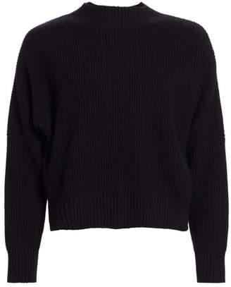 Akris Punto Oversize Rib-Knit Mockneck Pullover
