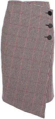 BA&SH Wrap-effect Houndstooth Wool-blend Skirt