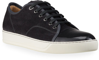 Lanvin Men's Patent Leather/Suede Low-Top Sneakers