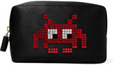 Anya Hindmarch Space Invaders crystal-embellished satin cosmetic case