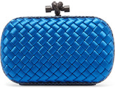 Bottega Veneta The Knot Watersnake-trimmed Intrecciato Satin Clutch - Blue