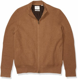 Billy Reid Men's Fully Lined Camelhair Zip Up Mock Neck Cardigan Sweater