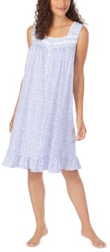 Eileen West Cotton Floral-Print Knit Nightgown